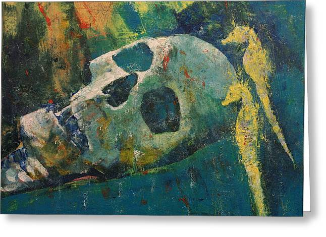Watery Greeting Cards - Yellow Seahorses Greeting Card by Michael Creese
