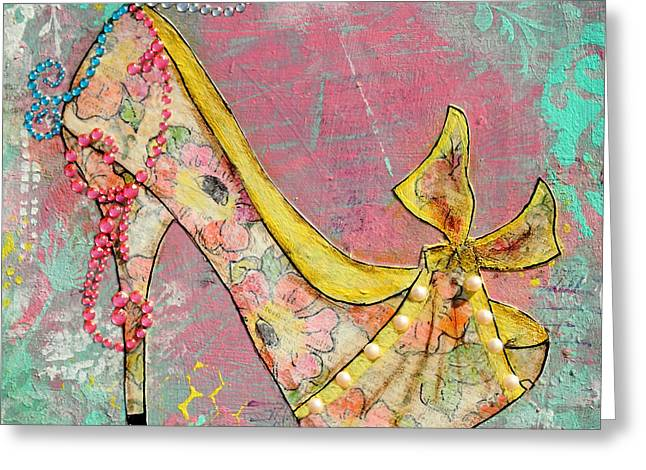 Janelle Nichol Greeting Cards - Yellow Shoe with Watercolor Flower Print Greeting Card by Janelle Nichol