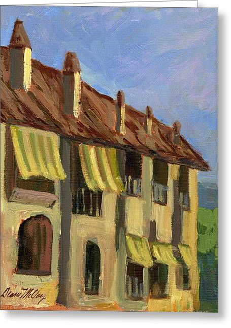 Tile Roofs Greeting Cards - Yellow Shutters Costa del Sol Greeting Card by Diane McClary