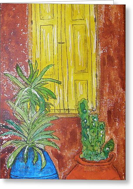 Adobe Drawings Greeting Cards - Yellow Shutters Greeting Card by Marcia Weller-Wenbert