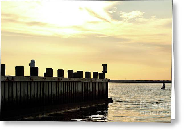 Yellow Sky at LBI Greeting Card by John Rizzuto