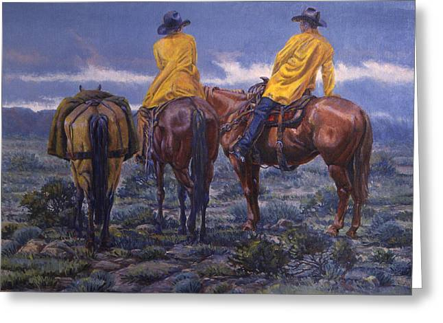 4 Corners Greeting Cards - Yellow Slickers Greeting Card by Randy Follis