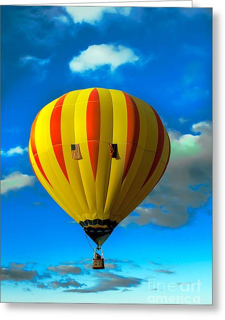 Yellow Sripped Hot Air Balloon Greeting Card by Robert Bales