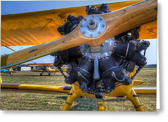 Aviation Greeting Cards - Yellow Steermans Greeting Card by Tim Stanley