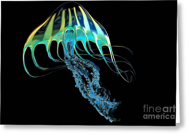 Sea Life Digital Art Greeting Cards - Yellow Striped Jellyfish Greeting Card by Corey Ford
