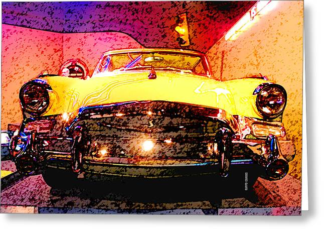 Yellow Studebaker Headlights Greeting Card by Design Turnpike