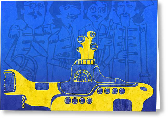 Yellow Submarine Greeting Cards - Yellow Submarine Greeting Card by Andee Design