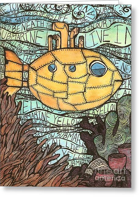 Weed Line Greeting Cards - Yellow Submarine Greeting Card by Meagan  Visser