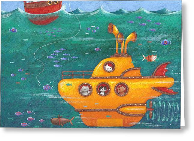 Sealife Greeting Cards - Yellow Submarine Greeting Card by Peter Adderley