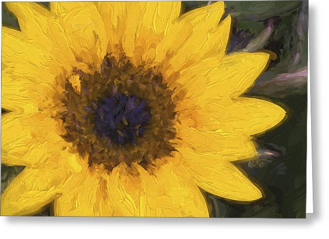 Yellow Sunflower Greeting Cards - Yellow Sunflower Painterly Greeting Card by Carol Leigh