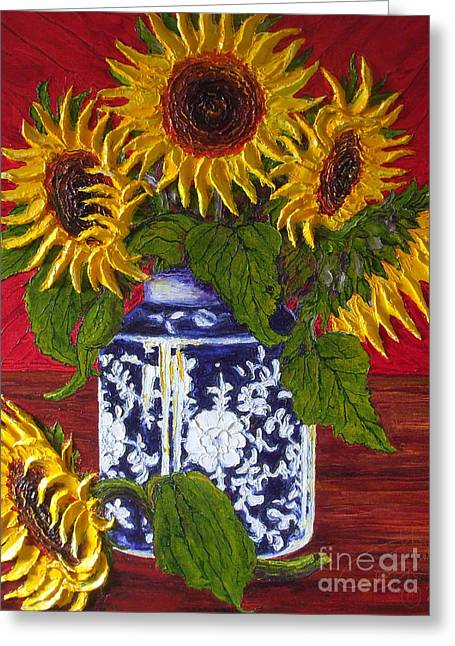 Paris Wyatt Llanso Greeting Cards - Yellow Sunflowers in a Vase Greeting Card by Paris Wyatt Llanso