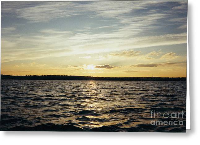 Yellow Sunrise in Manhassett Bay Greeting Card by JOHN TELFER