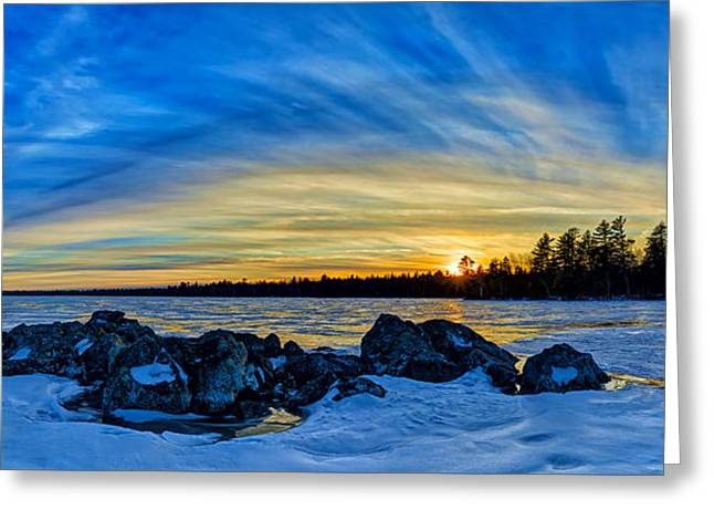 New England Snow Scene Greeting Cards - Yellow Sunset at Meddybemps Panorama Greeting Card by Bill Caldwell -        ABeautifulSky Photography