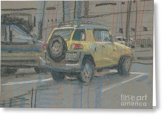 Yellow Suv Greeting Card by Donald Maier
