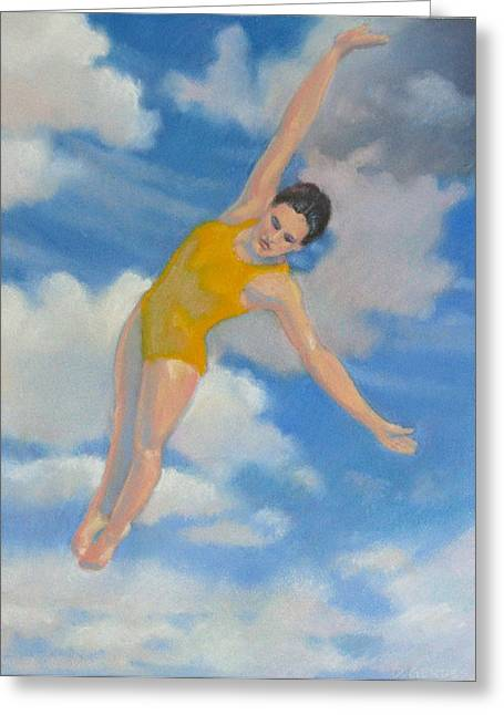 Diving Pastels Greeting Cards - Yellow Swan Dive Greeting Card by Delton Gerdes