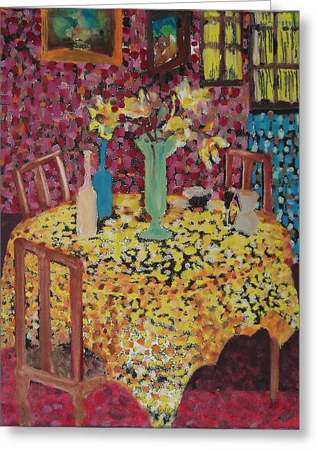 Interior Still Life Mixed Media Greeting Cards - Yellow Table Greeting Card by Karen Coggeshall