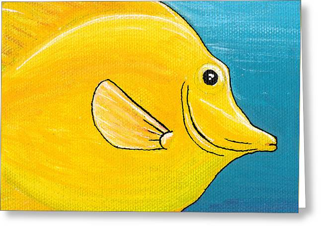 Saltlife Greeting Cards - Yellow Tang Greeting Card by Adam Johnson