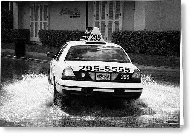 Flooding Greeting Cards - Yellow Taxi Cab Driving Through Streets Flooded By Heavy Rainfall Key West Florida Usa Greeting Card by Joe Fox