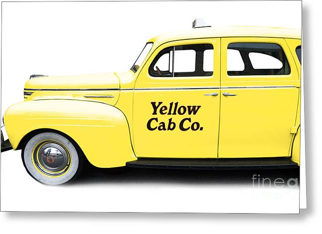 Classic Automobile Art Greeting Cards - Yellow Taxi Cab Greeting Card by Edward Fielding
