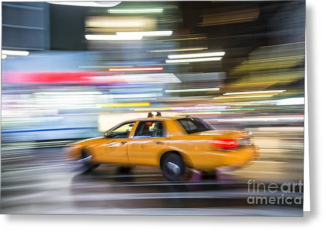 Speeding Taxi Greeting Cards - Yellow Taxi Cab in Manhattan Greeting Card by BM Noskowski