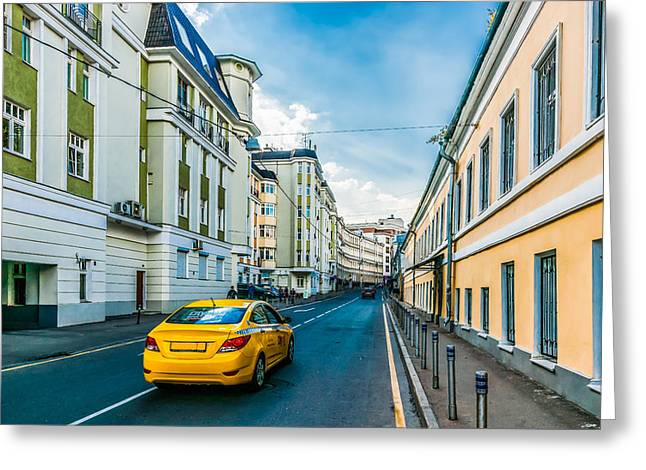 Rent House Greeting Cards - Yellow Taxi Of Moscow Greeting Card by Alexander Senin