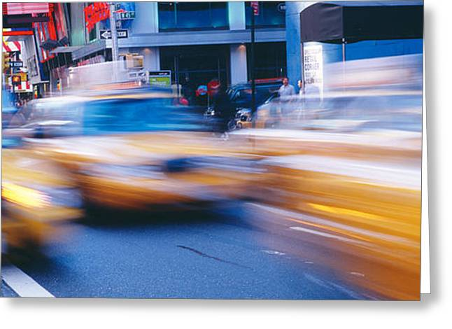Crosswalk Greeting Cards - Yellow Taxis On The Road, Times Square Greeting Card by Panoramic Images