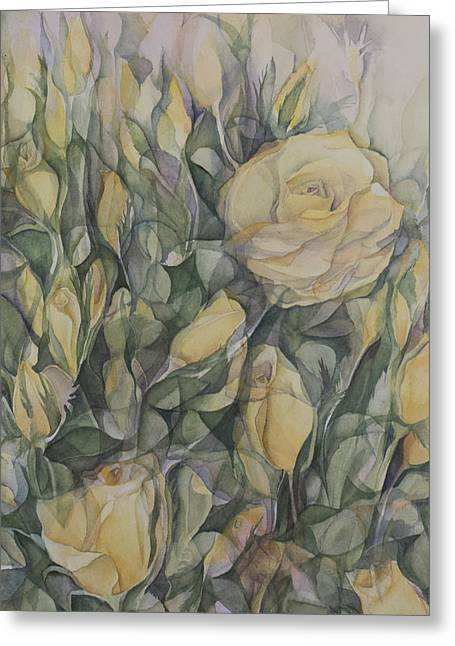 Lynne Bolwell Greeting Cards - Yellow Tea Rose Closeup Greeting Card by Lynne Bolwell