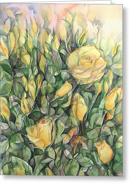 Lynne Bolwell Greeting Cards - Yellow Tea Roses Greeting Card by Lynne Bolwell