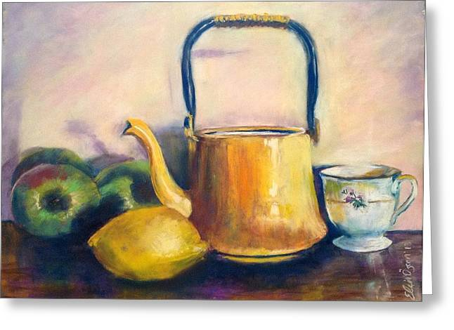 Apple Pastels Greeting Cards - Yellow Teapot Greeting Card by Elcin Ozcan