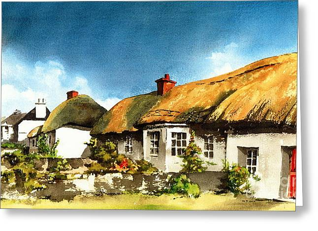 Val Byrne Greeting Cards - Yellow Thatch in Adare  Limerick Greeting Card by Val Byrne