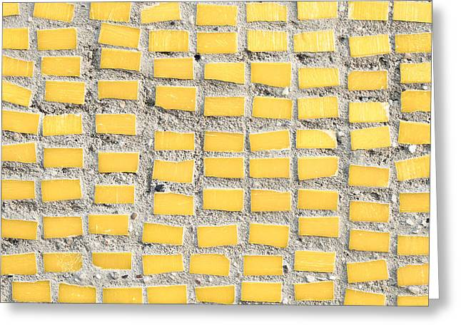 Tiled Greeting Cards - Yellow tiles Greeting Card by Tom Gowanlock