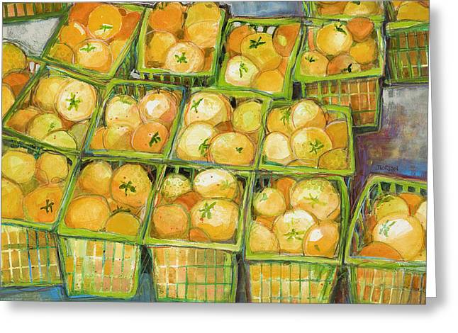 Food Art Paintings Greeting Cards - Yellow Tomato Baskets Greeting Card by Jen Norton