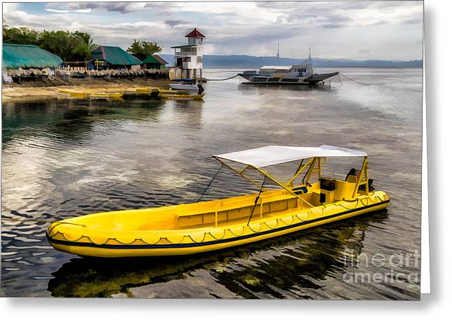 Yellow Tour Boat Greeting Card by Adrian Evans