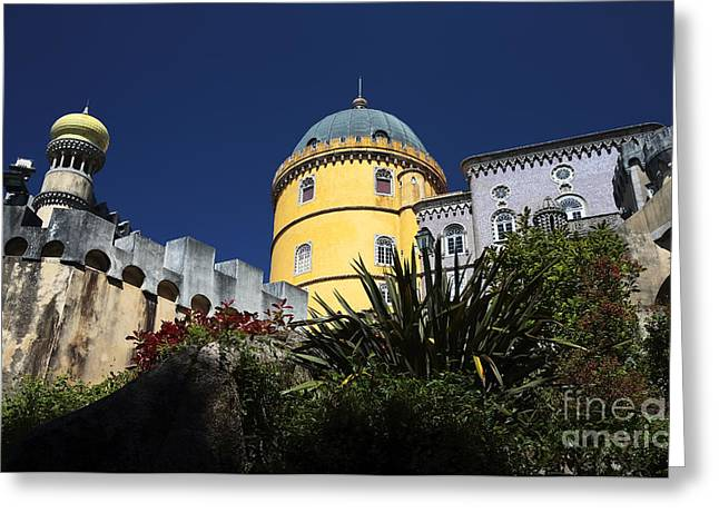 Pena Greeting Cards - Yellow Tower at Pena Palace Greeting Card by John Rizzuto
