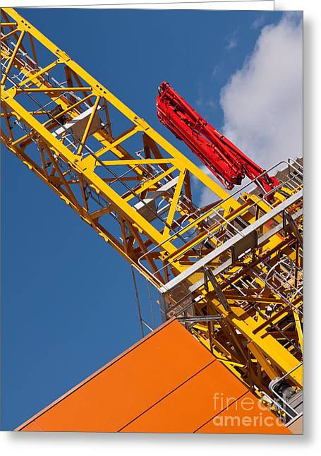 Tower Crane Greeting Cards - Yellow Tower Crane Greeting Card by Rick Piper Photography