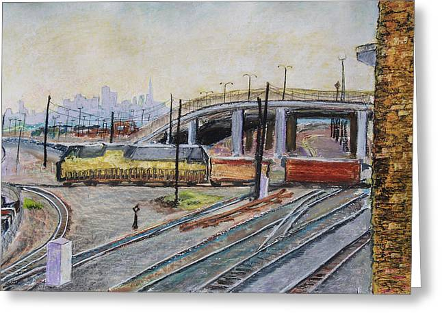 Brick Pastels Greeting Cards - Yellow Train and San Francisco Skyline Greeting Card by Asha Carolyn Young