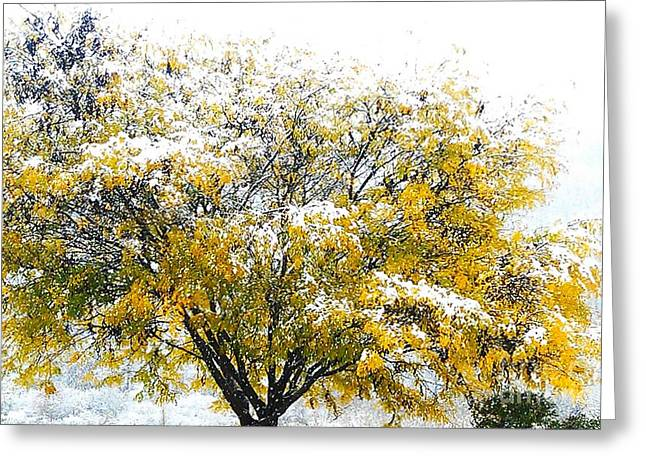 Anomalies Greeting Cards - Yellow Tree in Halloween Snowstorm Greeting Card by Anna Lisa Yoder