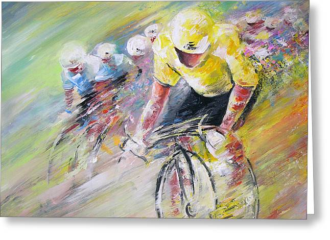 Cycling Paintings Greeting Cards - Yellow Triumph Greeting Card by Miki De Goodaboom