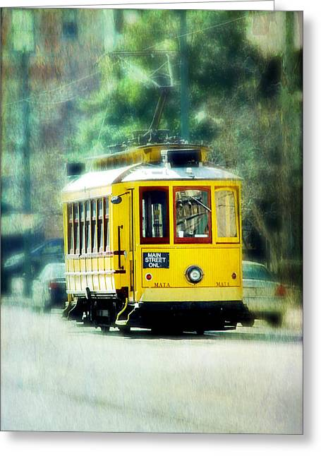 Tilt Shift Greeting Cards - Yellow Trolley Greeting Card by Suzanne Barber