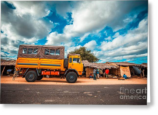 Travel Truck Greeting Cards - Yellow truck in Africa Greeting Card by Sabino Parente