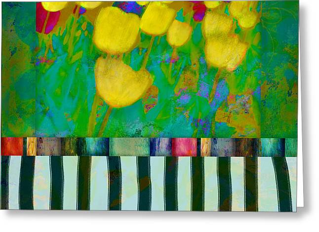 Yellow Tulips Abstract Art Greeting Card by Ann Powell
