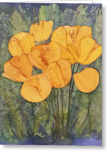 Spring Tapestries - Textiles Greeting Cards - Yellow Tulips Greeting Card by Carolyn Doe