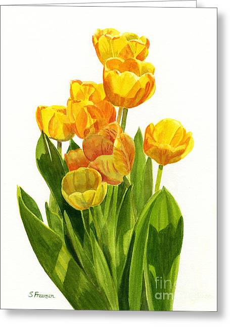 Yellow Paintings Greeting Cards - Yellow Tulips in the Sun Greeting Card by Sharon Freeman