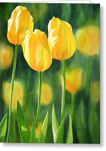 Tulip Garden Greeting Cards - Yellow Tulips Greeting Card by Sharon Freeman