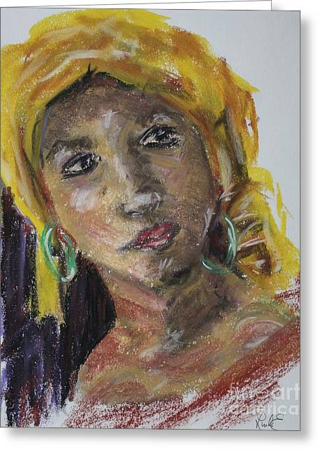 B Pastels Greeting Cards - Yellow Turban Greeting Card by Linda Eversole