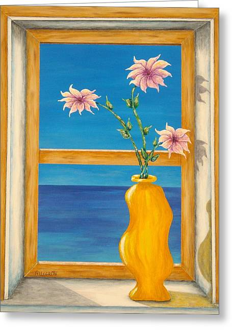 Pam Franz Greeting Cards - Yellow Vase With Sea View Greeting Card by Pamela Allegretto