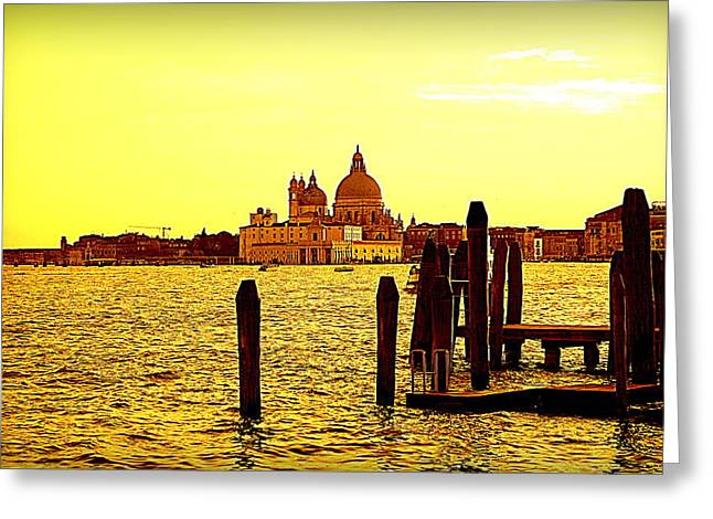Italian Sunset Greeting Cards - Yellow Venice Greeting Card by Valentino Visentini