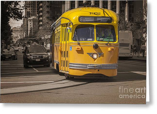 Downtown San Francisco Photographs Greeting Cards - Yellow Vintage Streetcar San Francisco Greeting Card by Colin and Linda McKie