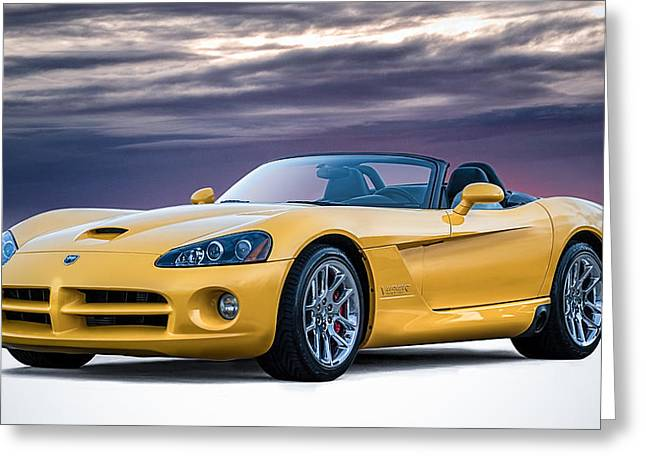 Auto Greeting Cards - Yellow Viper Convertible Greeting Card by Douglas Pittman