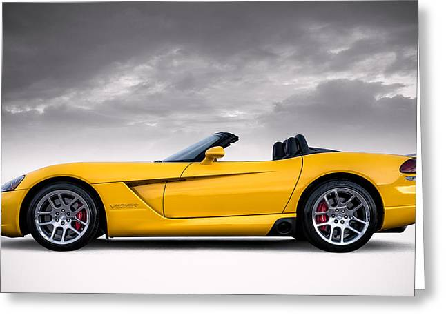 Mopar Greeting Cards - Yellow Viper Roadster Greeting Card by Douglas Pittman